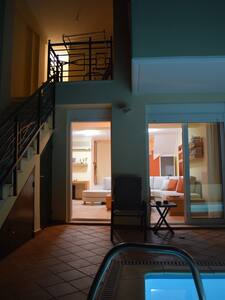 Exist step  inside villa .exist steps  between kithen- Living room and bedroom -Pool floor