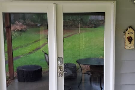 French doors wide private entry