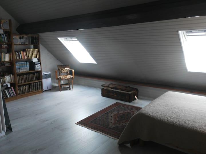 Chambre sous les toits avec SDB et WC privés!