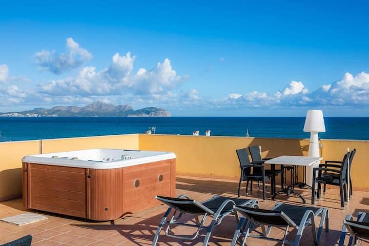 Rooftop con Jacuzzi, Barbacoa y vistas al mar