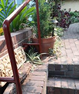 steps at gate & lighting