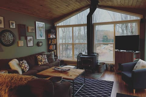 Lakefront Cozy Cottage w Wood Stove, Dock, Patio