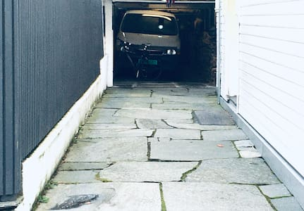 The driveway towards the garage is some narrow, approximately 225 cm.