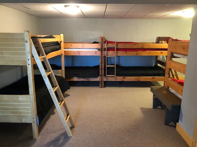 Great bunk space for the kids with 4 bunk beds (8 beds total) and one daybed with a trundle (2 more beds)