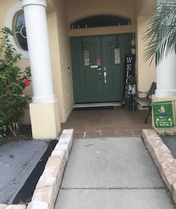 Front entry to home's front doors.