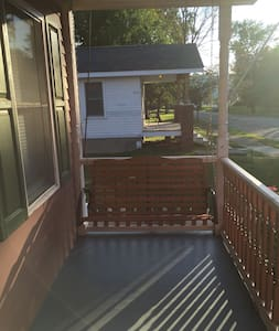 There are 3 steps into house from outside. There are no steps inside the house at all. There are 4 steps from deck to backyard