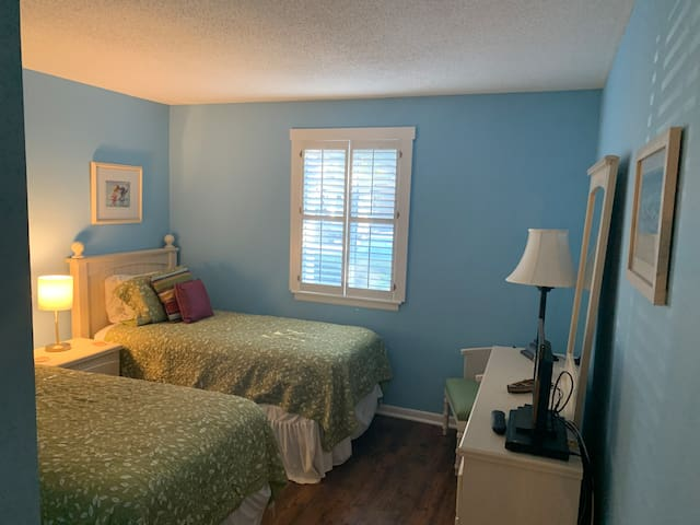 Guest bedroom with twin size beds, cable TV and DVD player