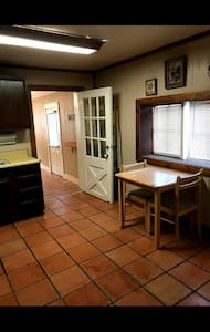 There is 2 steps down from the kitchen into the living area.