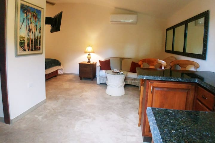 Optional Extra - Ground level, separate entrance studio bedroom/shower wc/kitchenette. Small double bed.