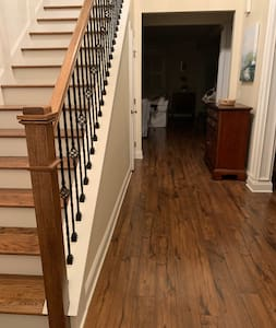 Must take a step into house and up stairs to bedroom