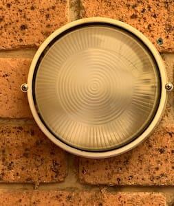 Light on side of villa
