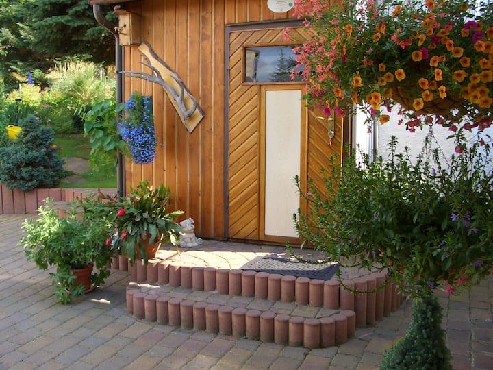 Ferienhaus im Erzgebirge mit Kamin und Saunakotta