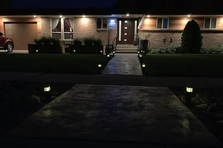 Well lit entrance at night