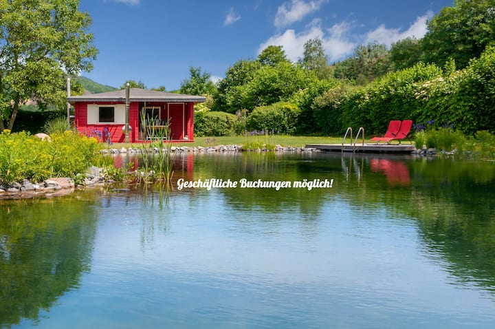 Romantic Wooden Lodge with new large natural pool