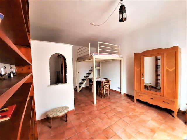 Questa è la camera più grande. Il soppalco letto è ad una piazza e mezzo (120 cm). L'archetto separa l'angolo cottura cucina dal resto della stanza.