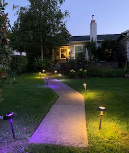 Well-lighted walkway up to house.