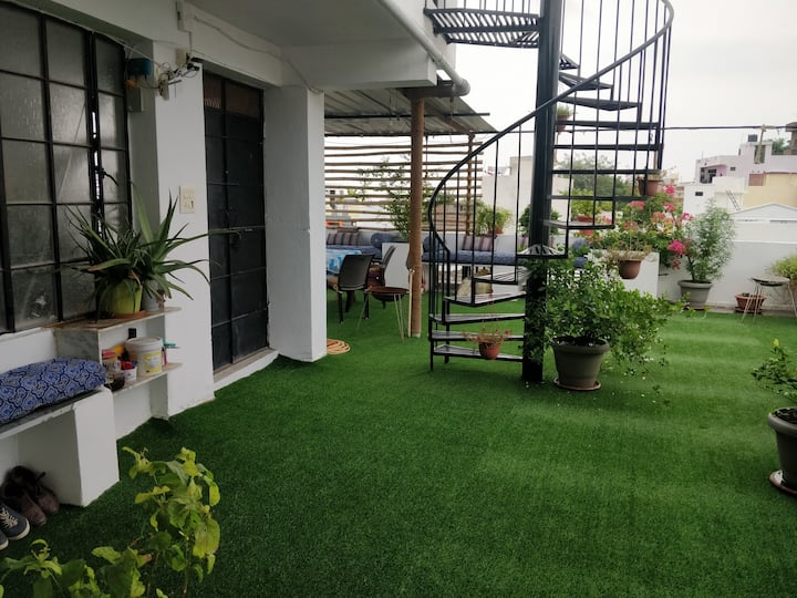 2BHK 2 rooms living space kitchen & rooftop access