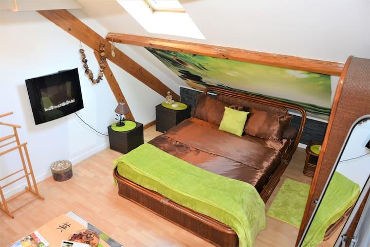 Chambre savoyarde avec mezzanine attenante.