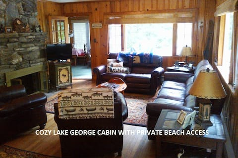 Lake George cabin with private beach!