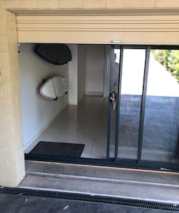 The Entry to the Hideaway is through the roller door then the glass sliding door slide back to the width of one panel. Plenty of room for prams and wheelchairs to enter.