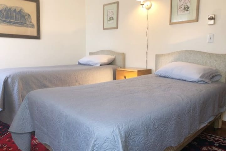 Bedroom #2.  150 sq feet.  Two, twin beds.  Oriental rug.