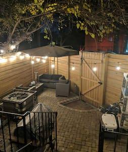 well lit backyard entrance