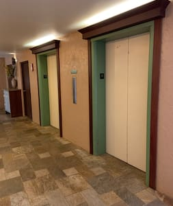 """Island Sands Resort has two elevators with a 42"""" wide doorway.  Since our condo is on the ground floor our guests only use the elevators to visit new friends :)"""