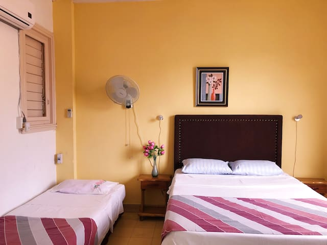 The beautiful private bedroom with tons of natural light and a new A/C system to keep you cool.
