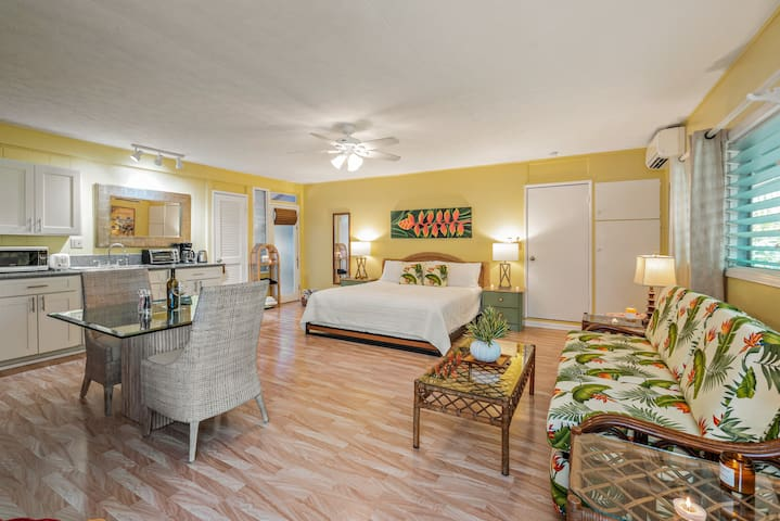 Spacious 400 sf Studio: King Size Bed with a bit of luxury and a lot of ALOHA.