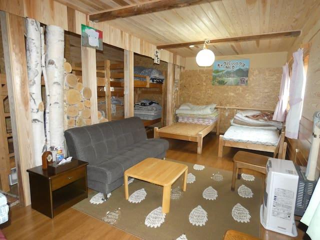 1ベッドルーム シングルベッド×4 2段ベッド×2  エアコン & 暖房機 設置