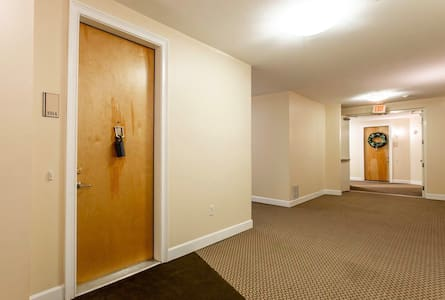 Wide hallways for those with disability needs.