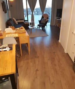 Kitchen view, looking into living area