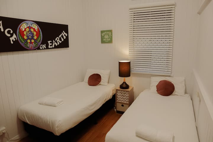 Second bedroom has 2 king single beds, big enough for adults, plenty of room for the kids.