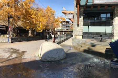There is an exterior covered ramp on the south side of the Carleton lodge to access the lobby entrance from the lifts and village stroll.