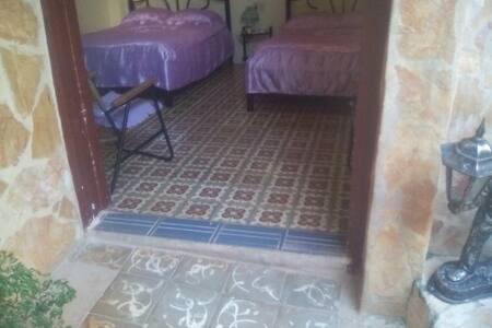 Entrada a la habitacion desde el patio con un pequeño scalon de 10 cm y un ancho de 120 cm.
