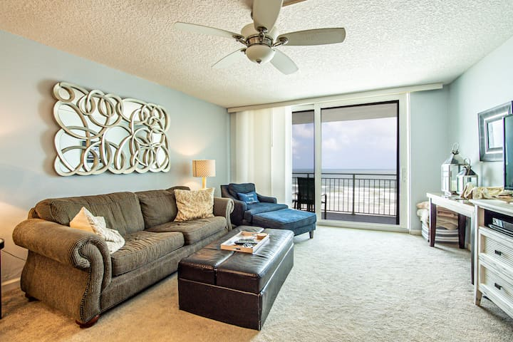 Sofa has a queen size sleeper; ottoman has a single bed inside.  Full ocean view from balcony, living room, dining room, kitchen, master bedroom.