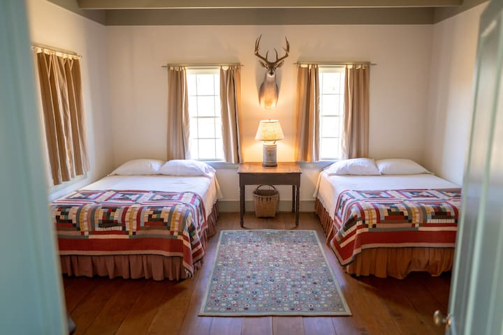 Two queen beds in a downstairs bedroom