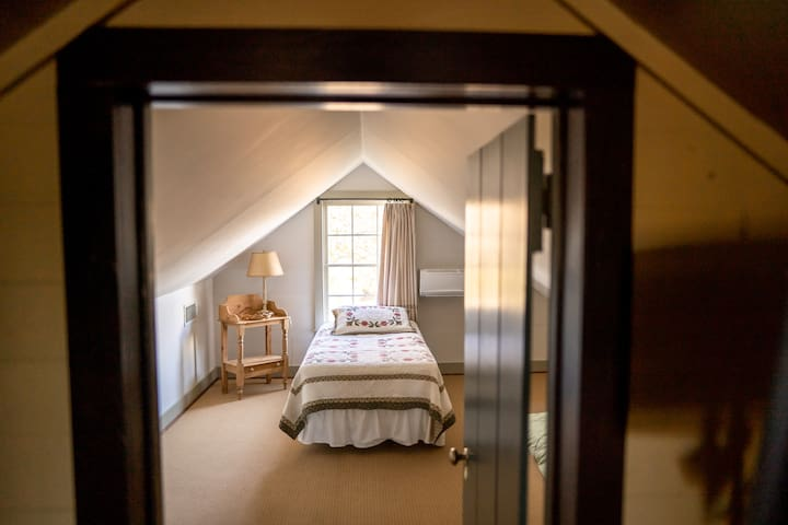 The upstairs has two bedrooms with a twin in each.