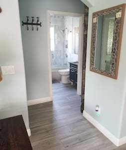 Only hallway to guest bath