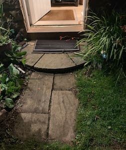 The pathway consists of one small 10cm high step then a 20cm high step into the house.