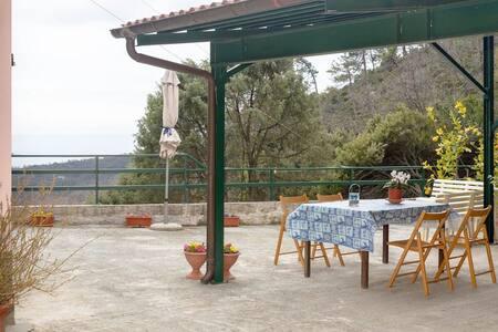 Il posto auto è adiacente all'ingresso dell'abitazione, in un cortile privato con pavimentazione in cemento e pianeggiante.