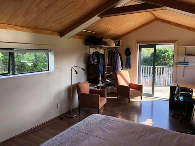 Separate bedroom upstairs (external access) with office space