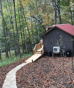 Path down the gentle slope from the parking area to the cabin. It is lit in the evening and at night by a bright, outside light in the parking area. Once you near the deck steps, an outside spot light will automatically illuminate the way.