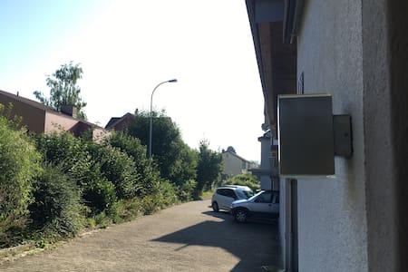 Strassenlaterne und Hauseingang beleuchtet
