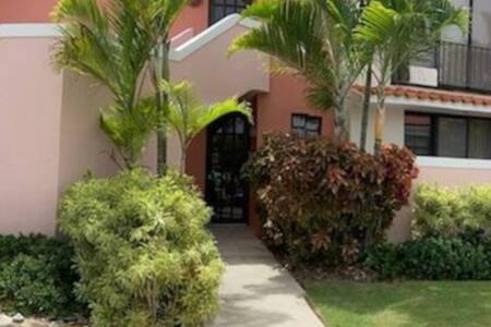 Entrance to villa from the sidewalk. Entrada a la villa desde la acera