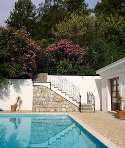 Steps from the garden gate to the pool side.