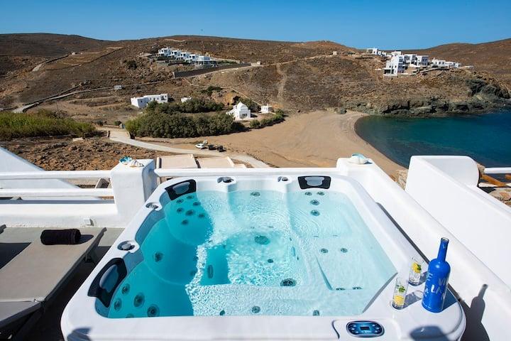 Beachfront Villa Merhia with Hot Tub & Seaview