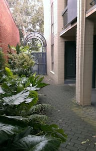 My apartment is on ground level, accessible directly from this courtyard.