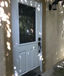 This is the front door super bright in the evening.