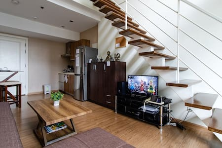 Wide entrance to main living area. If you are having a hard time to climb up the steps, we can transform the sofa into a bed.